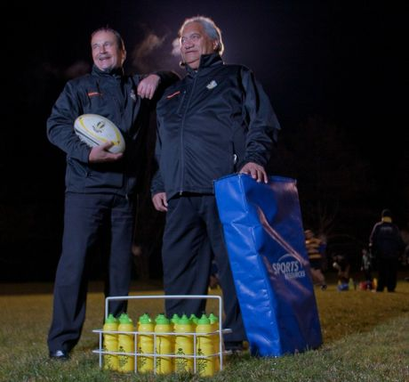 Greerton Marist president Terry Meredith (left) and club stalwart Steve Pearson getting ready for this weekend's big clash against Rangataua.  Photo by Dscribe Journalism