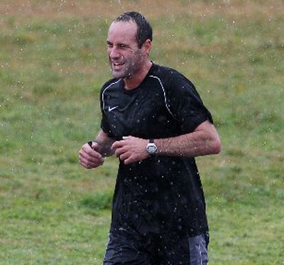 TAKING ON THE ELEMENTS: Mark Findlay took part in a duathlon at The Lakes yesterday.