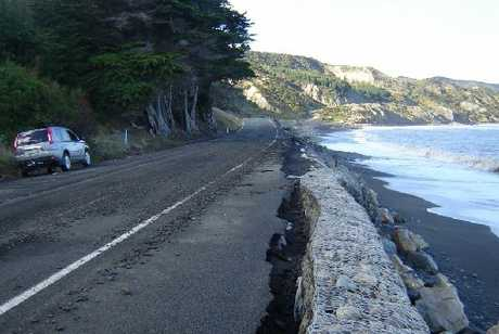 MITIGATION MEASURES: The Cape Palliser Rd seawall has developed a tilt as a result of storms and erosion.