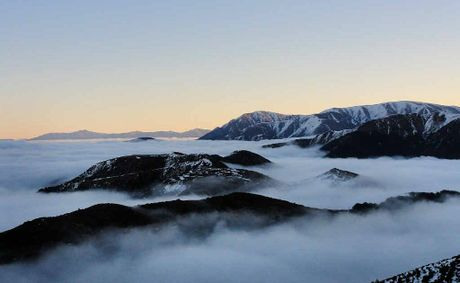 Skiers at Mt Hutt on New Zealand's South Island can look down on the clouds from even the lowest point of the ski field.