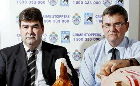 Acting Detective Superintendent for the State Drug Investigation Unit Steve Holahan and Ipswich District Detective Inspector Mick Niland with the drugs seized from a joint operation.