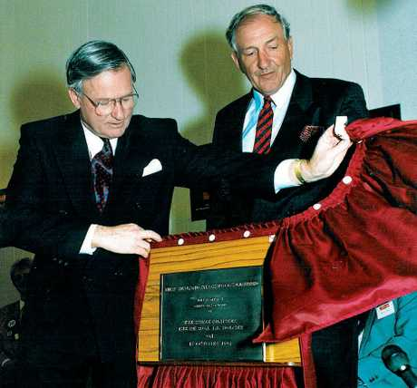 Graeme Lowe (right) with then-Prime Minister Jim Bolger at the opening of New Zealand Snack Foods' plant in Hastings in 1993. The plant processed apples into chips. PHOTO/FILE
