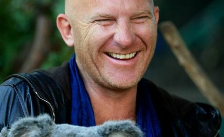Matt Moran with Morton the Koala at Currumbin wildlife sanctuary.