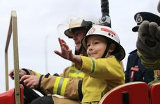 Five-year-old Rex Darmanin-Rees get his wish to be a fireman for a day.