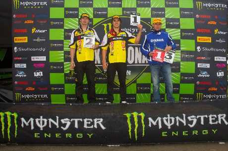 WINNERS: 2012 Australian National Motocross Championship podium with second-placed Cody Cooper (left) joined by teammate Todd Waters and series leader Josh Coppins.