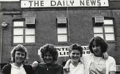 Tweed Newspaper Company staff outside the site around 1980.