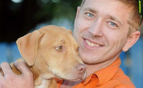 Josh Giles and his pitbull cross pup, Absence.