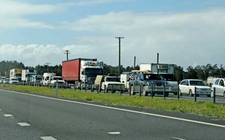 Traffic banked up on the Pacific Highway after a fatal accident on Monday morning.