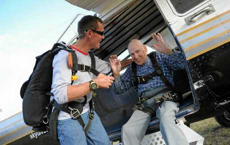 Gladstone's Clem Higgins, 90, jumps for his birthday with Skydive Central Queensland.
