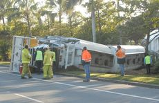Truck rollover in Mackay on Bruce Highway.