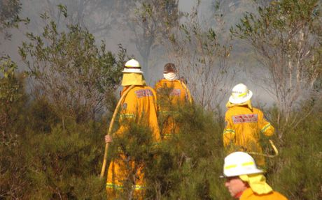 FIGHTING FIRE: RFS volunteers near Brooms Head last year.