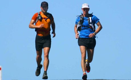 Ultramarathon runner Richard Bowles was unexpectedly joined by local runner Martin Hack pictured here on the Mount Morgan to Kabra leg.
