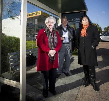 Mangere/ Otahuhu Local Board members Carrol Elliott (left) and Lydia Sosene (right) with Local Board chair Peter Skelton, say it's too difficult to catch a bus to the airport.