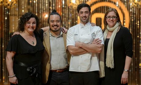 MasterChef winner Andy Allen pictured with previous winners Julie Goodwin, Adam Liaw and Kate Bracks.