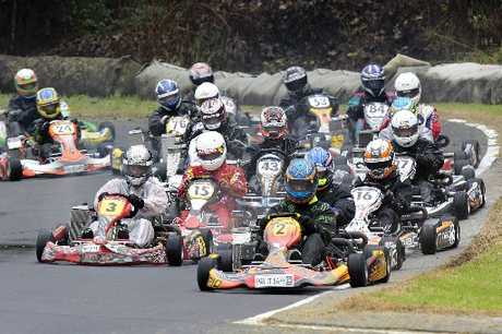 Kart racers in the hotly competitive Rotax Max Light class are racing for a chance to represent New Zealand at the Rotax World Finals in Portugal later this year. Photo / Greg Henderson