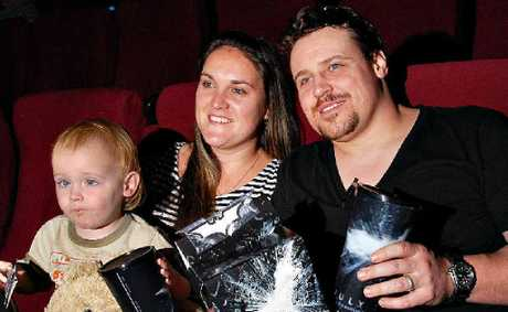 Colleen and Ryan Hall, with son Tristan, were keen to see the latest Batman movie The Dark Knight Rises yesterday.