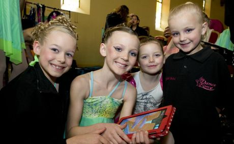 Playing around while waiting for their dance section at the eisteddfod are (from left) Mikayla Burgess, Katelyn Stapleton, Jamie Burns and Madisyn Bichel.