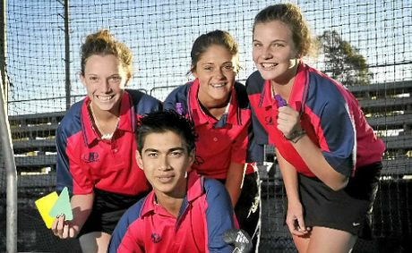 Members of Toowoomba hockeys up-and-coming junior umpire brigade (from left) Kaitlyn Steinhardt, Kaitlyn Benson, Madyson Mogg and (front) Daud Anderson at Clyde Park this week.