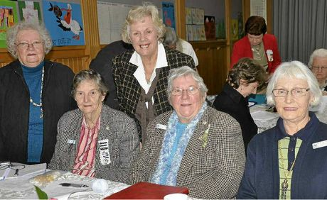 CATCHING UP: Joy Gymer, Ruby Jensen, Frances Tilly, Margaret Hopkins and Leonie Lee-Archer at the QCWA Toowoomba branch annual meeting.