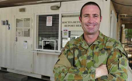 Leading Aircraftsman Lee Crowell, 42 from Warwick in Queensland serving with Combat Support Unit provides Force Protection at Al Minhad Airbase, United Arab Emirates as part of Operation SLIPPER.