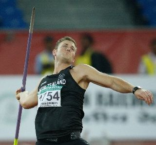 New Zealand javelin thrower Stuart Farquhar in action.
