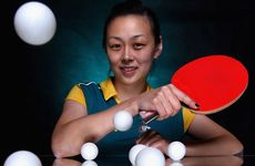 Miao Miao of Australia poses during an Australian Table Tennis portrait session at the Melbourne Sports & Aquatic Centre