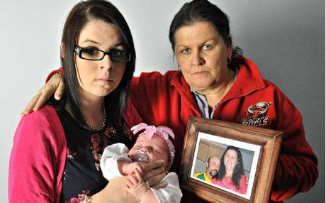 Nikki Stevenson, pictured with mum Julie and newborn daughter Mia Jane, is still looking for answers on the disappearance of her dad, motorcyclist Paul Stevenson.