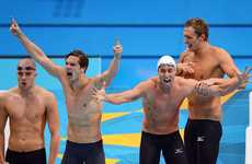 Clement Lefert, Fabien Gilot and Amaury Leveaux of France celebrate after winning the gold in the Men's 4x100m Freestyle Realty on Day 2 of the London 2012 Olympic Games at the Aquatics Centre on July 29, 2012 in London, England.