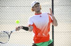 Nick Lindahl on his way to a comprehensive victory in the Platinum AMT tennis event at Grafton City Courts.