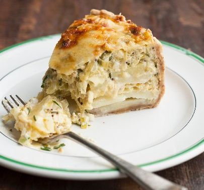 Gooey leek, potato and vintage cheddar pie