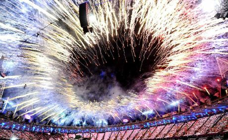 Fireworks illuminate the sky during the opening ceremony of the London 2012 Olympic Games at the Olympic Stadium on July 27.