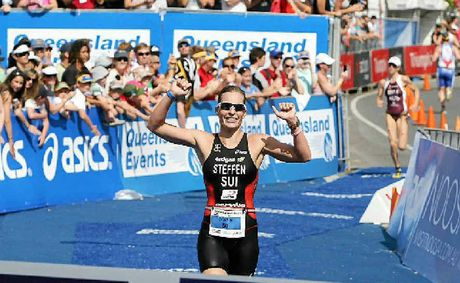 Caroline Steffen, pictured winning the Noosa Triathlon in 2010, claimed the World Long Distance Championship in Spain.