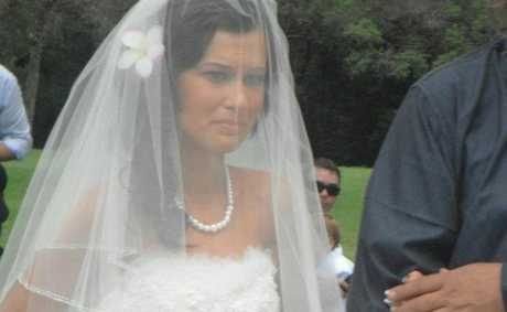 Keeana Kruger holds back tears as she walks down the aisle on her wedding day. Photo Facebook
