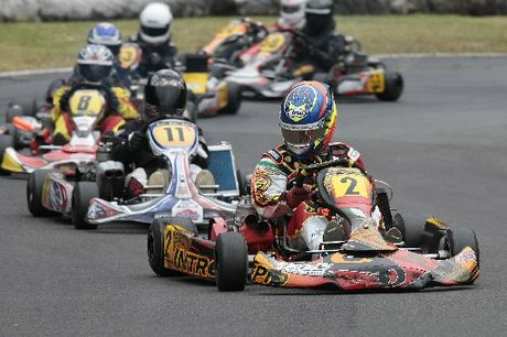 IMPRESSIVE: Palmerston North's Josh Drysdale is chased by BOP Kart Club racer Mitchell Sanders in the KF3 class final.