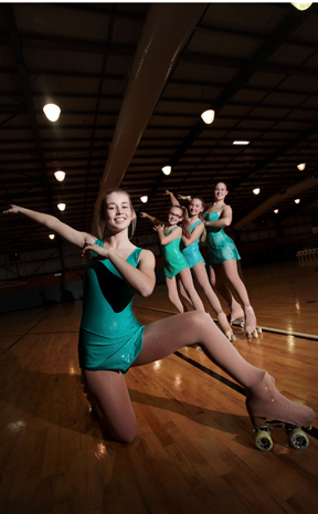 WINNERS: Jade Payne (11), Maddison Payne (9), Casey Test (16) and Lauren Cahill (17) have recently travelled to Sydney to compete in the Australian Artistic Skating Championship. Photo: Inga Williams / The Reporter