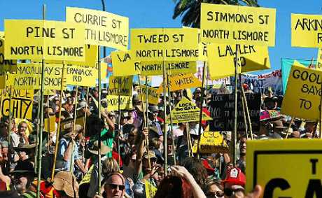 PEOPLE POWER: North Lismore residents took to the streets as part of the Rock the Gate protest.