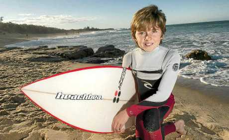 Will Muskens, 10, makes the most of the perfect weather by hitting the surf at Currimundi.