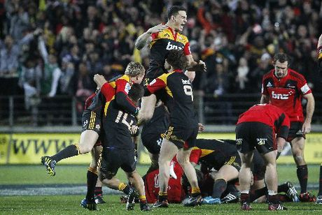 Sonny Bill Williams jumps and celebrates with his team after winning the semifinal. Chiefs vs Crusaders Super 15 rugby semi-final at Waikato Stadium, Hamilton.