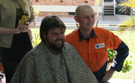 GOOD CAUSE: John Pratchett and Tom Wade shaved their head and beard to help fundraise for a Biloela staff member.