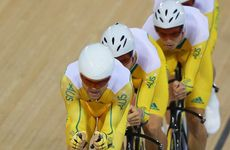 Australia has finished second behind Great Britain in the men&#39;s team pursuit.