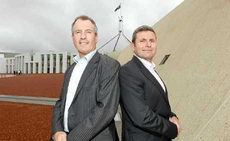 VETERANS: Journalists Steve Lewis (left) and Chris Uhlmann have written a book.