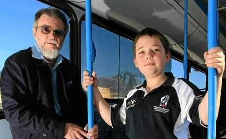 Bus driver Glenn Irving and student Dean Rendall.