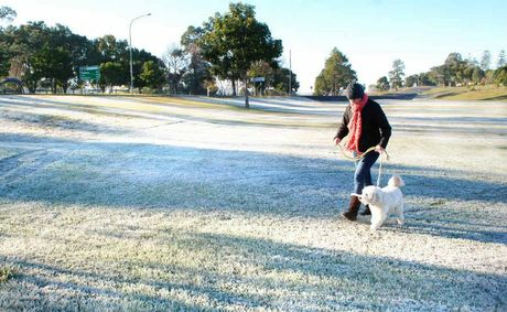Frost covered the grass at Normanby Hill Remembrance Park. Today's minimum was expected to be 0 degrees.
