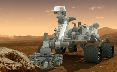 An artist&#39;s impression of &quot;Curiosity&quot; on Mars, assuming it isn&#39;t destroyed in a catastrophy of fire and mechano as it attempts to land. 