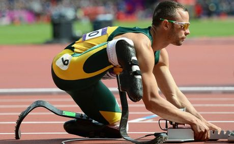 Oscar Pistorius of South Africa prepares for his race in the Men's 400m Round 1 heat on Day 8 of the 2012 London Olympic Games.