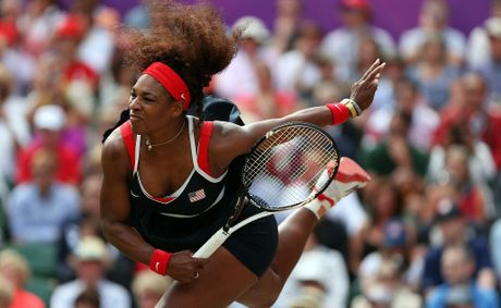 Serena Williams of the United States serves against Maria Sharapova of Russia during the gold medal match of the Women's Singles Tennis on Day 8 of the London 2012 Olympic Games.