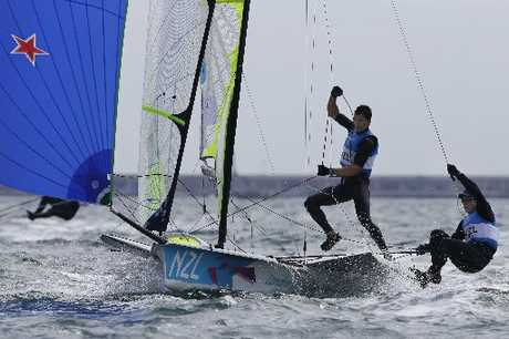 FLYING HIGH: New Zealand's Peter Burling and Blair Tuke during the Olympics 49er class race.