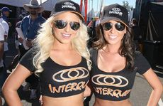 Melanie Clarke and Steph Jack from The Promoting Agency representing Interquip at the Ipswich 300 on Saturday.