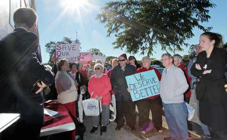 CUTTING COASTS: Inala residents protested against the closure of the Inala Customer Service Centre.