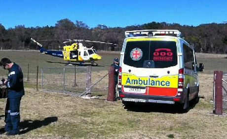 The man was airlifted after being trampled by a bull.